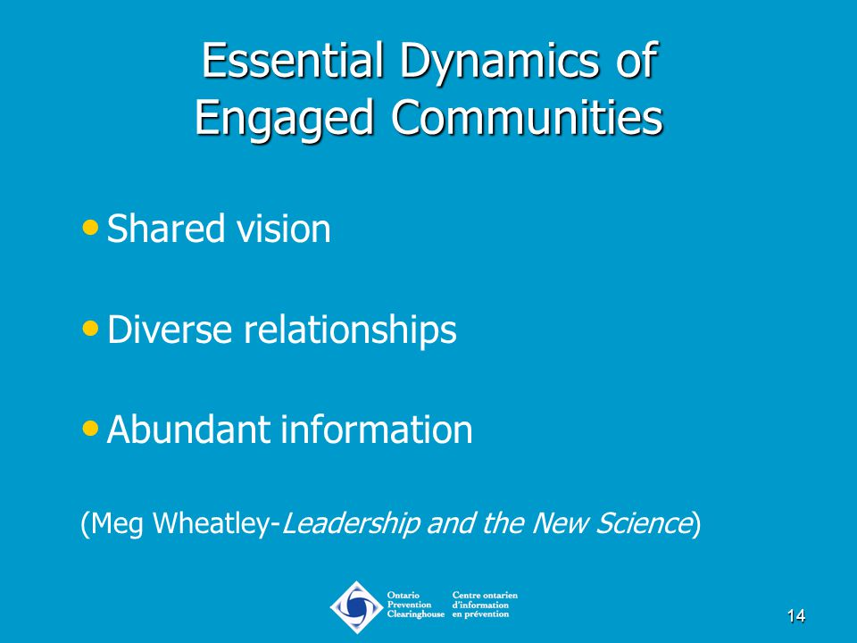 14 Essential Dynamics of Engaged Communities Shared vision Diverse relationships Abundant information (Meg Wheatley-Leadership and the New Science)