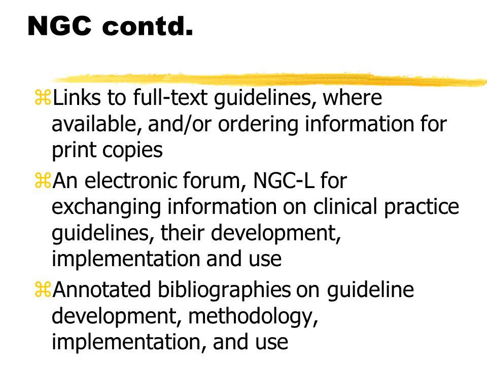 NGC contd.