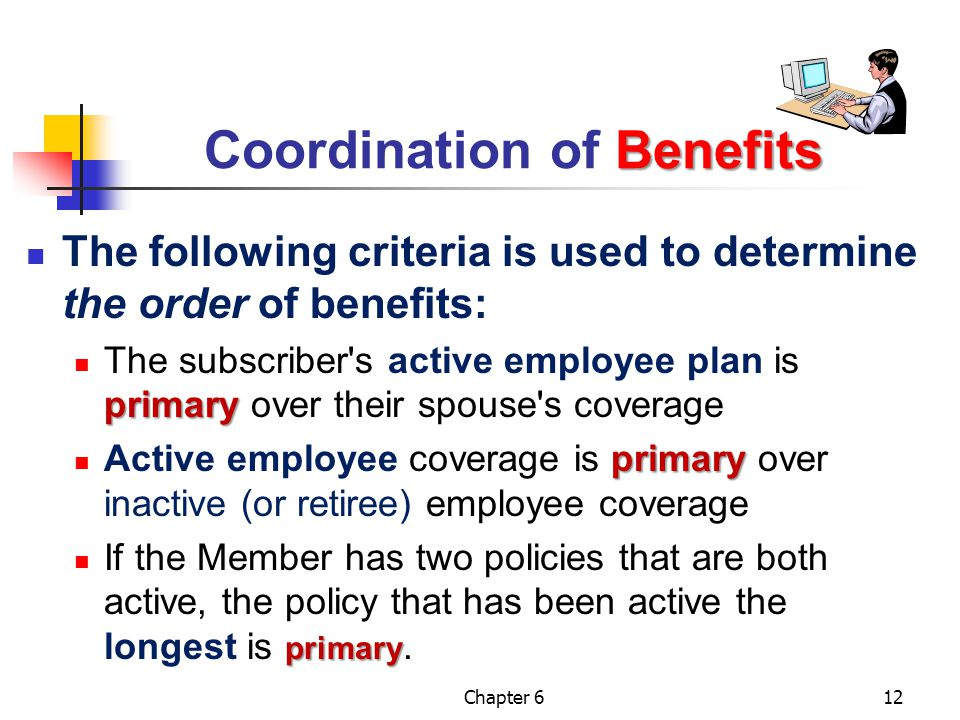 Chapter 612 Benefits Coordination of Benefits The following criteria is used to determine the order of benefits: primary The subscriber's active emplo