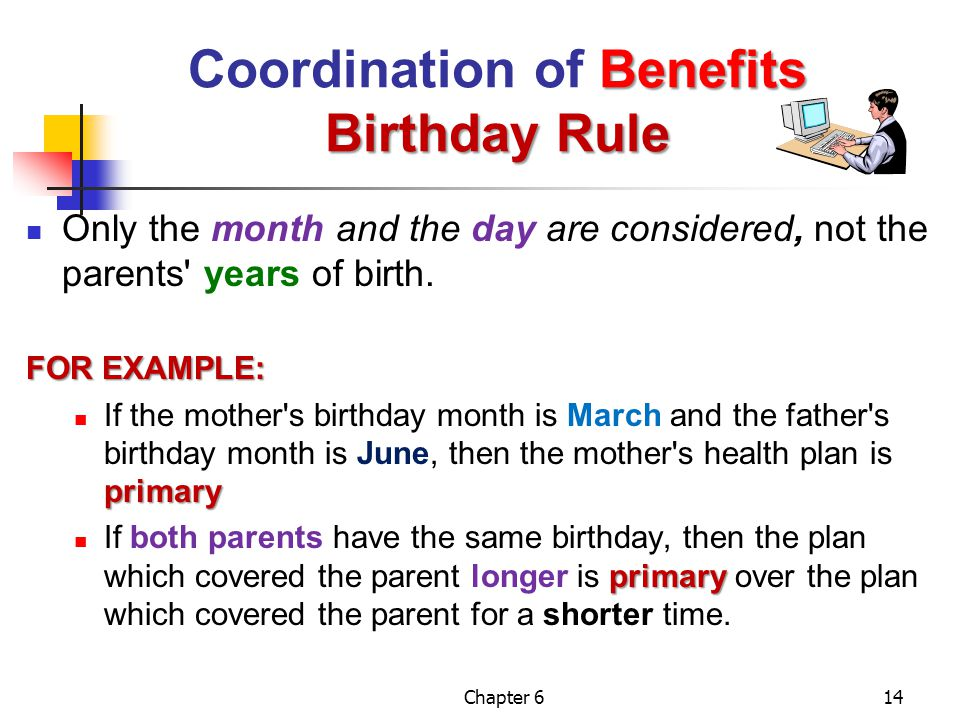Chapter 614 Benefits Birthday Rule Coordination of Benefits Birthday Rule Only the month and the day are considered, not the parents' years of birth.