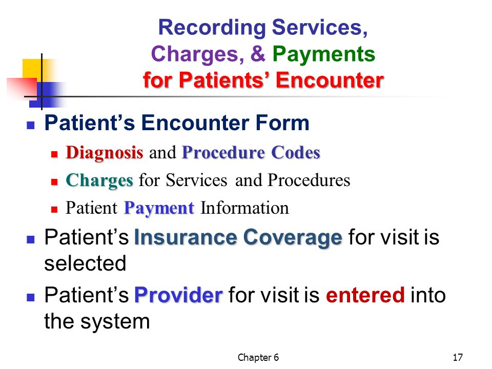 Chapter 617 for Patients' Encounter Recording Services, Charges, & Payments for Patients' Encounter Patient's Encounter Form DiagnosiProcedure Codes D