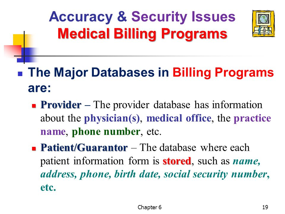 Chapter 619 Medical Billing Programs Accuracy & Security Issues Medical Billing Programs The Major Databases in Billing Programs are: Provider Provide