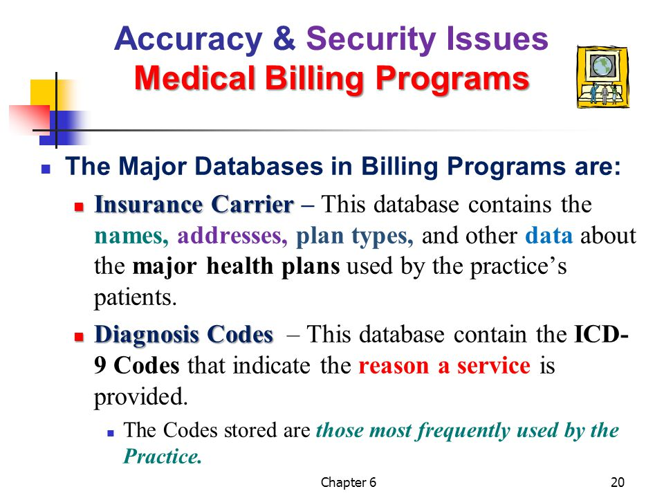 Chapter 620 Medical Billing Programs Accuracy & Security Issues Medical Billing Programs The Major Databases in Billing Programs are: Insurance Carrie