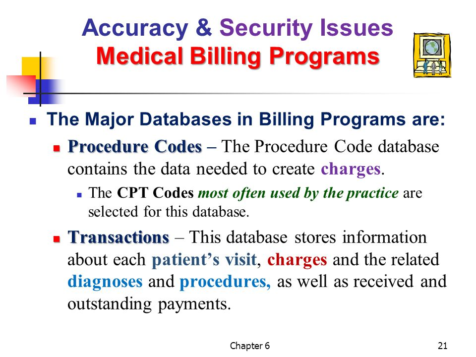 Chapter 621 Medical Billing Programs Accuracy & Security Issues Medical Billing Programs The Major Databases in Billing Programs are: Procedure Codes
