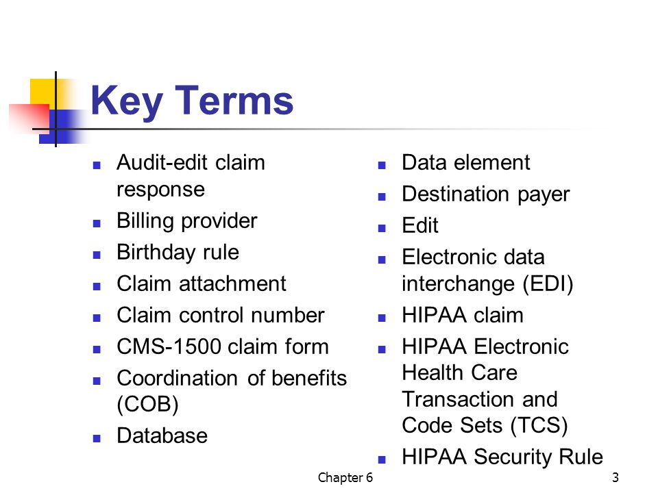 Chapter 63 Key Terms Audit-edit claim response Billing provider Birthday rule Claim attachment Claim control number CMS-1500 claim form Coordination o