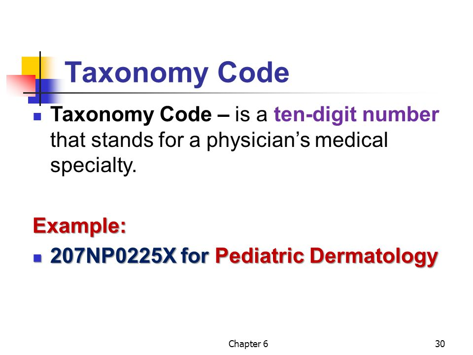 Chapter 630 Taxonomy Code Taxonomy Code – is a ten-digit number that stands for a physician's medical specialty.Example: 207NP0225X for Pediatric Derm