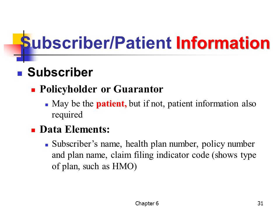 Chapter 631 Information Subscriber/Patient Information Subscriber Policyholder or Guarantor patient, May be the patient, but if not, patient informati
