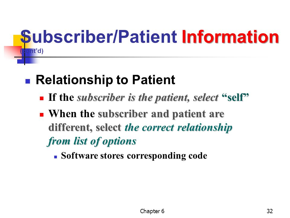 """Chapter 632 Information Subscriber/Patient Information (cont'd) Relationship to Patient subscriber is the patient, select""""self"""" If the subscriber is t"""