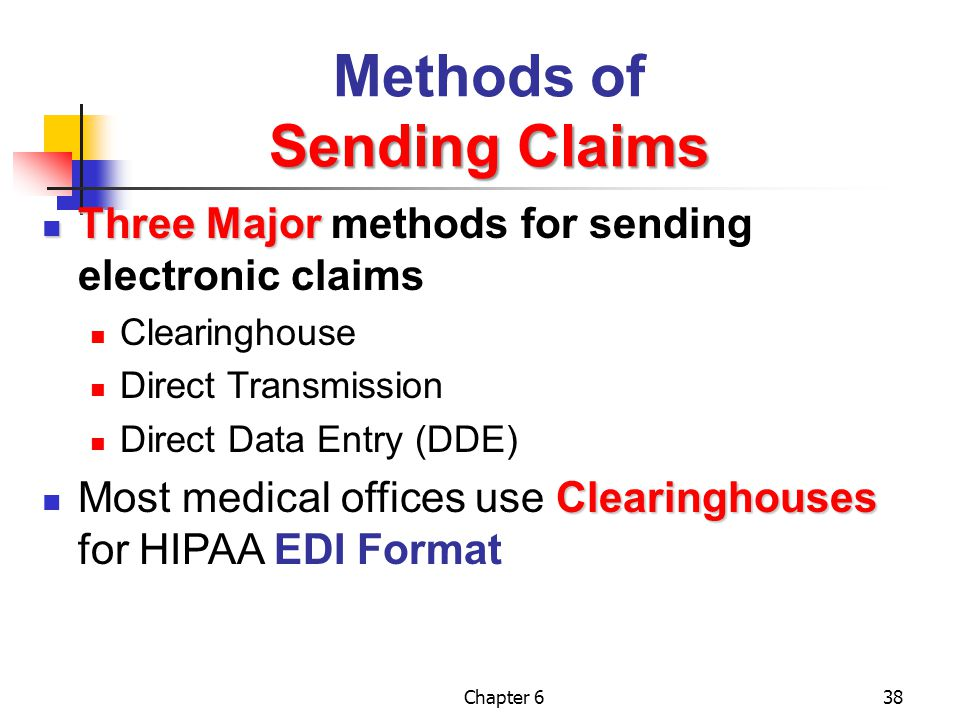 Chapter 638 Sending Claims Methods of Sending Claims Three Major Three Major methods for sending electronic claims Clearinghouse Direct Transmission D
