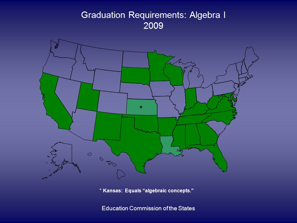 Education Commission of the States Graduation Requirements: Algebra I 2009 * * Kansas: Equals algebraic concepts.