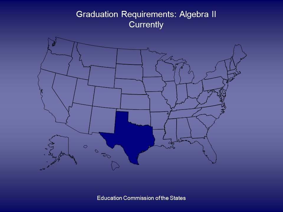 Education Commission of the States Graduation Requirements: Algebra II Currently