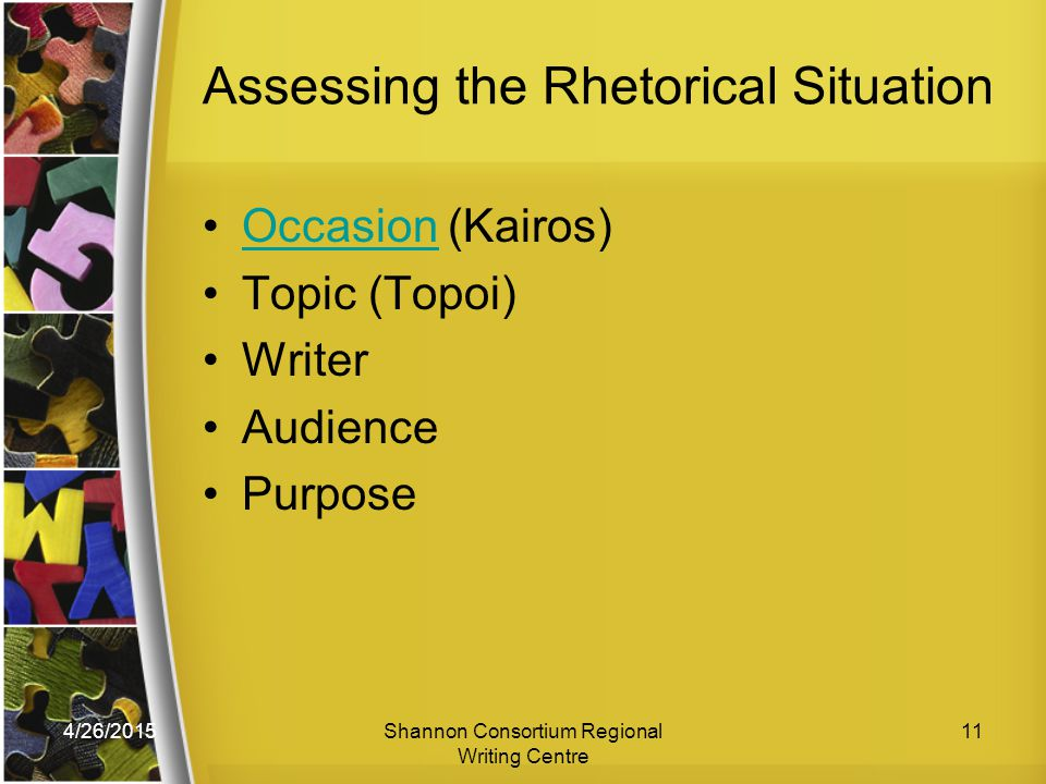 4/26/2015Shannon Consortium Regional Writing Centre 11 Assessing the Rhetorical Situation Occasion (Kairos)Occasion Topic (Topoi) Writer Audience Purpose