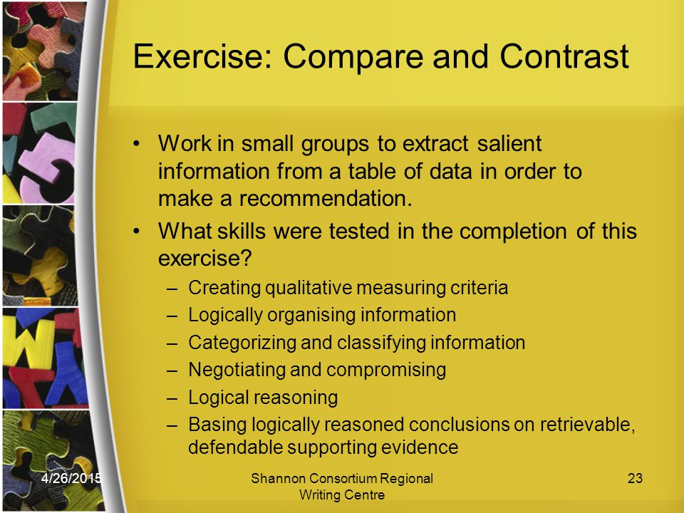 4/26/2015Shannon Consortium Regional Writing Centre 23 Exercise: Compare and Contrast Work in small groups to extract salient information from a table of data in order to make a recommendation.