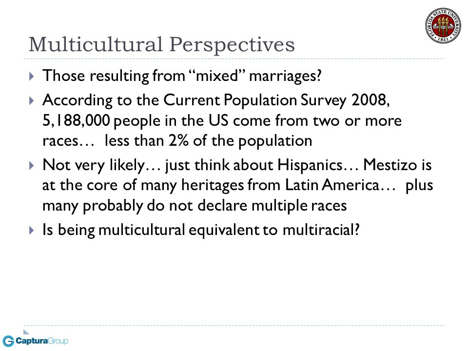 "Multicultural Perspectives  Those resulting from ""mixed"" marriages?  According to the Current Population Survey 2008, 5,188,000 people in the US com"