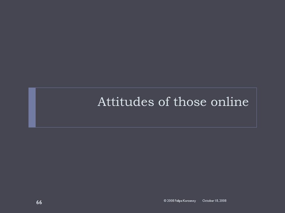 Attitudes of those online October 18, 2008© 2008 Felipe Korzenny 66