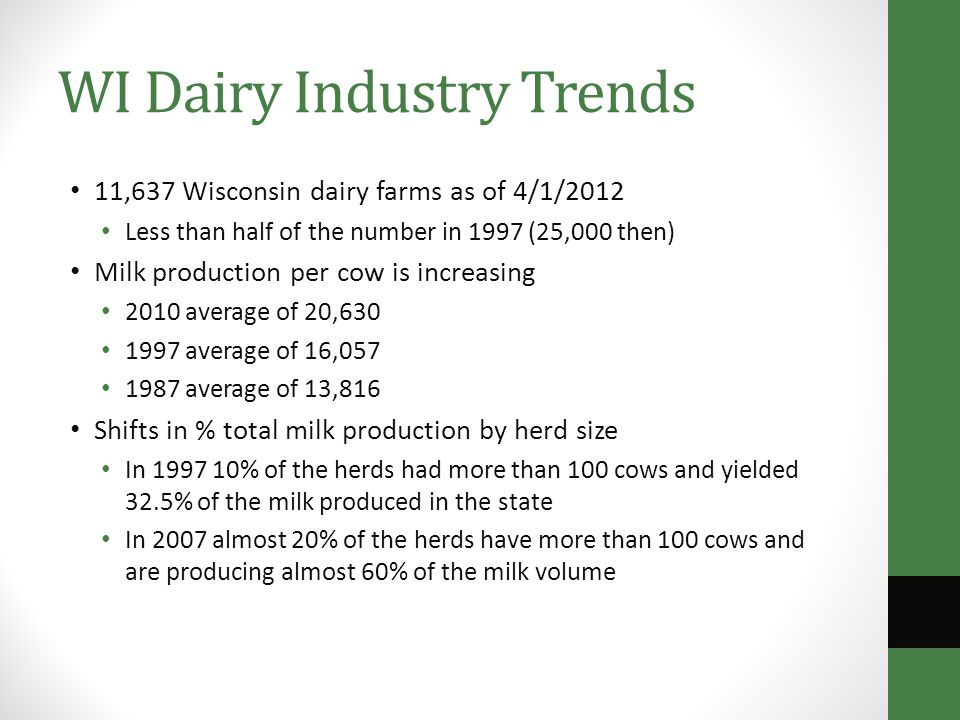 WI Dairy Industry Trends 11,637 Wisconsin dairy farms as of 4/1/2012 Less than half of the number in 1997 (25,000 then) Milk production per cow is increasing 2010 average of 20,630 1997 average of 16,057 1987 average of 13,816 Shifts in % total milk production by herd size In 1997 10% of the herds had more than 100 cows and yielded 32.5% of the milk produced in the state In 2007 almost 20% of the herds have more than 100 cows and are producing almost 60% of the milk volume