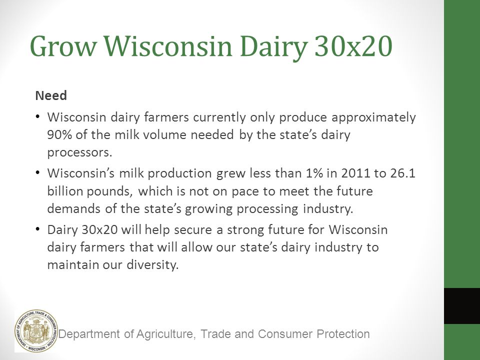 Grow Wisconsin Dairy 30x20 Need Wisconsin dairy farmers currently only produce approximately 90% of the milk volume needed by the state's dairy processors.