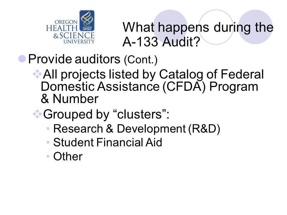 What happens during the A-133 Audit? Provide auditors (Cont.)  All projects listed by Catalog of Federal Domestic Assistance (CFDA) Program & Number
