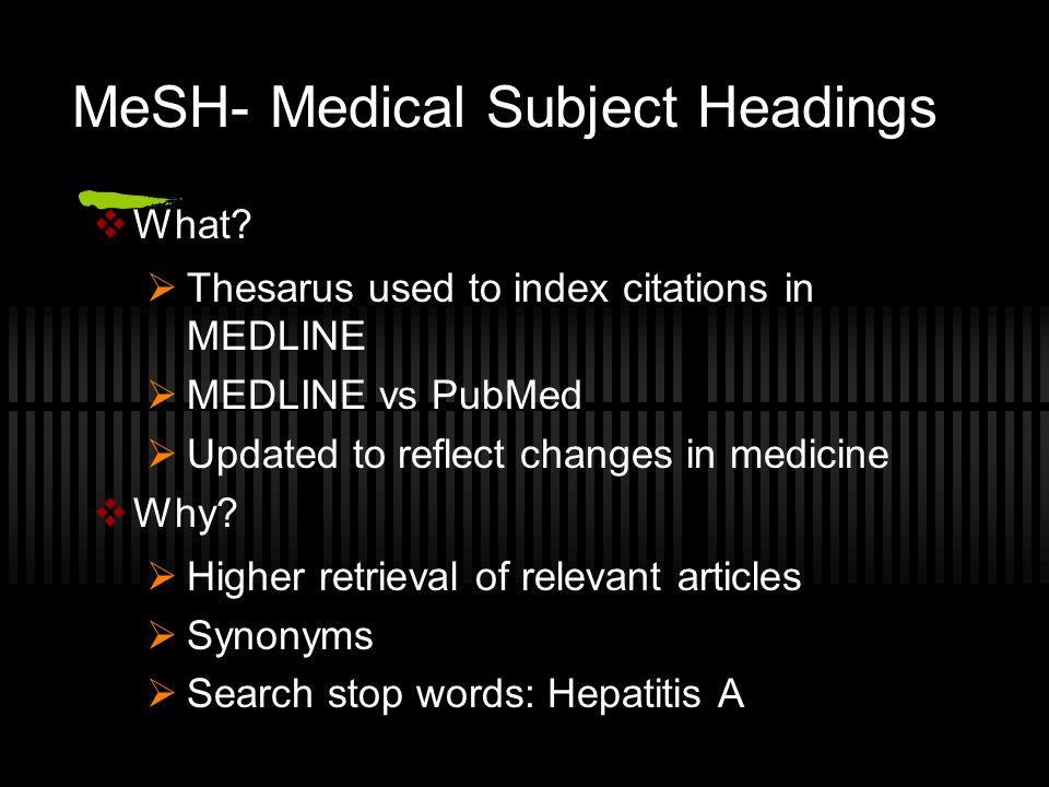 MeSH- Medical Subject Headings  What.