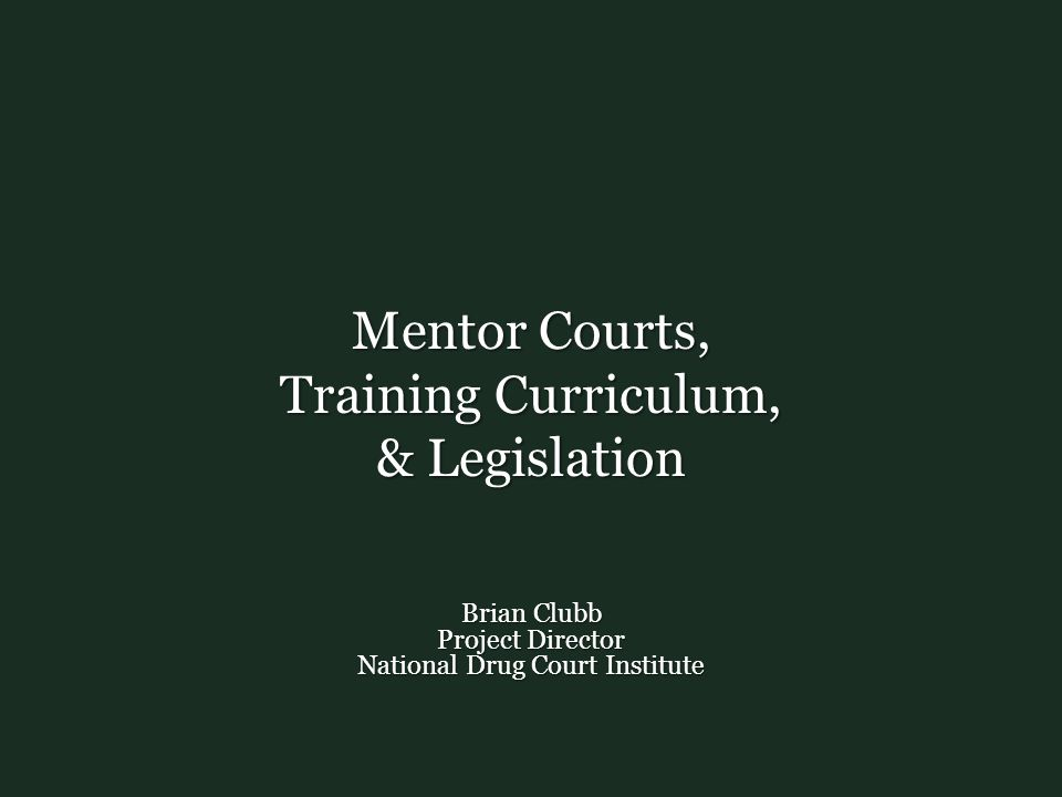 Mentor Courts, Training Curriculum, & Legislation Brian Clubb Project Director National Drug Court Institute
