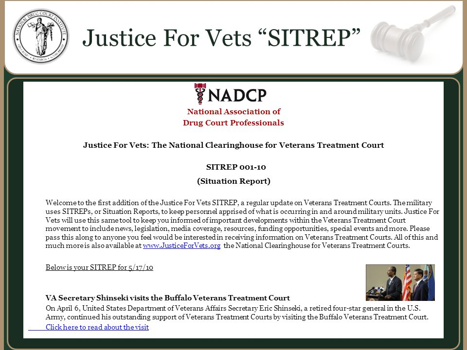 National Association of Drug Court Professionals Justice For Vets: The National Clearinghouse for Veterans Treatment Court SITREP 001-10 (Situation Report) Welcome to the first addition of the Justice For Vets SITREP, a regular update on Veterans Treatment Courts.