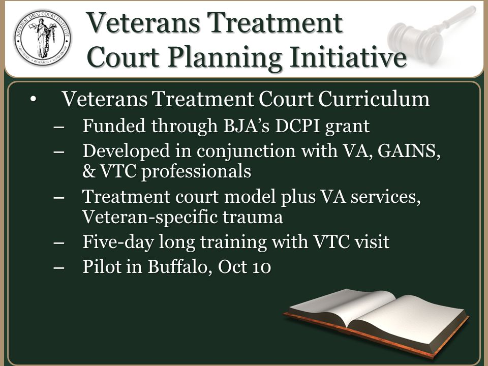 Veterans Treatment Court Planning Initiative Veterans Treatment Court Curriculum Veterans Treatment Court Curriculum – Funded through BJA's DCPI grant – Developed in conjunction with VA, GAINS, & VTC professionals – Treatment court model plus VA services, Veteran-specific trauma – Five-day long training with VTC visit – Pilot in Buffalo, Oct 10