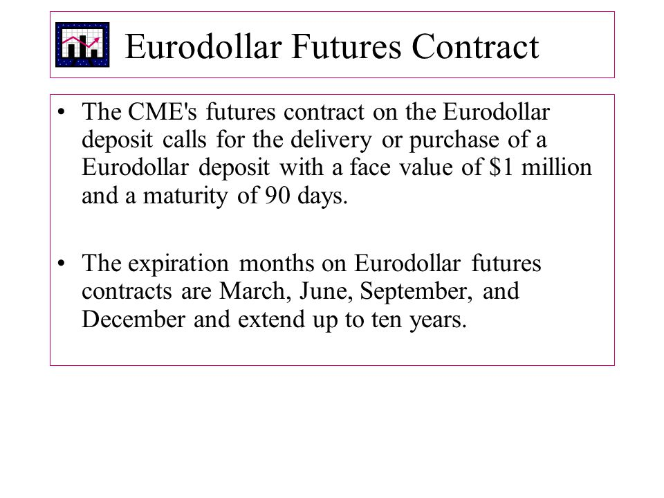 Eurodollar Futures Contract The CME s futures contract on the Eurodollar deposit calls for the delivery or purchase of a Eurodollar deposit with a face value of $1 million and a maturity of 90 days.