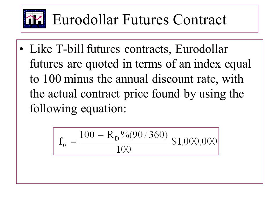 Eurodollar Futures Contract Like T ‑ bill futures contracts, Eurodollar futures are quoted in terms of an index equal to 100 minus the annual discount rate, with the actual contract price found by using the following equation: