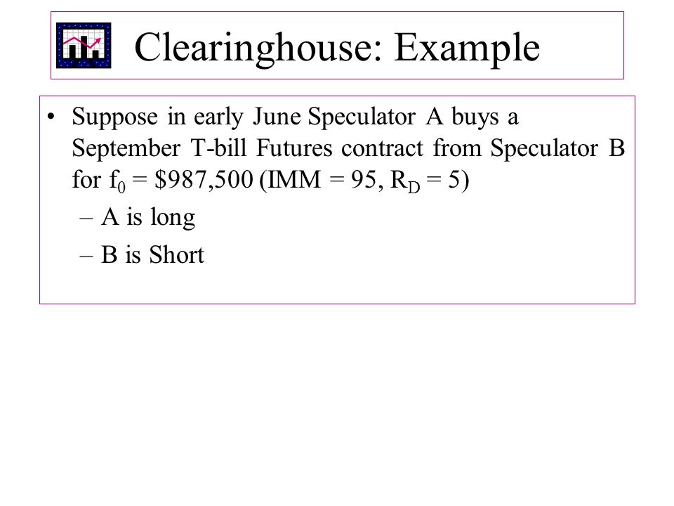 Clearinghouse: Example Suppose in early June Speculator A buys a September T-bill Futures contract from Speculator B for f 0 = $987,500 (IMM = 95, R D = 5) –A is long –B is Short