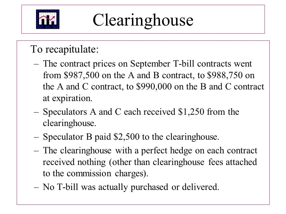 Clearinghouse To recapitulate: –The contract prices on September T-bill contracts went from $987,500 on the A and B contract, to $988,750 on the A and C contract, to $990,000 on the B and C contract at expiration.