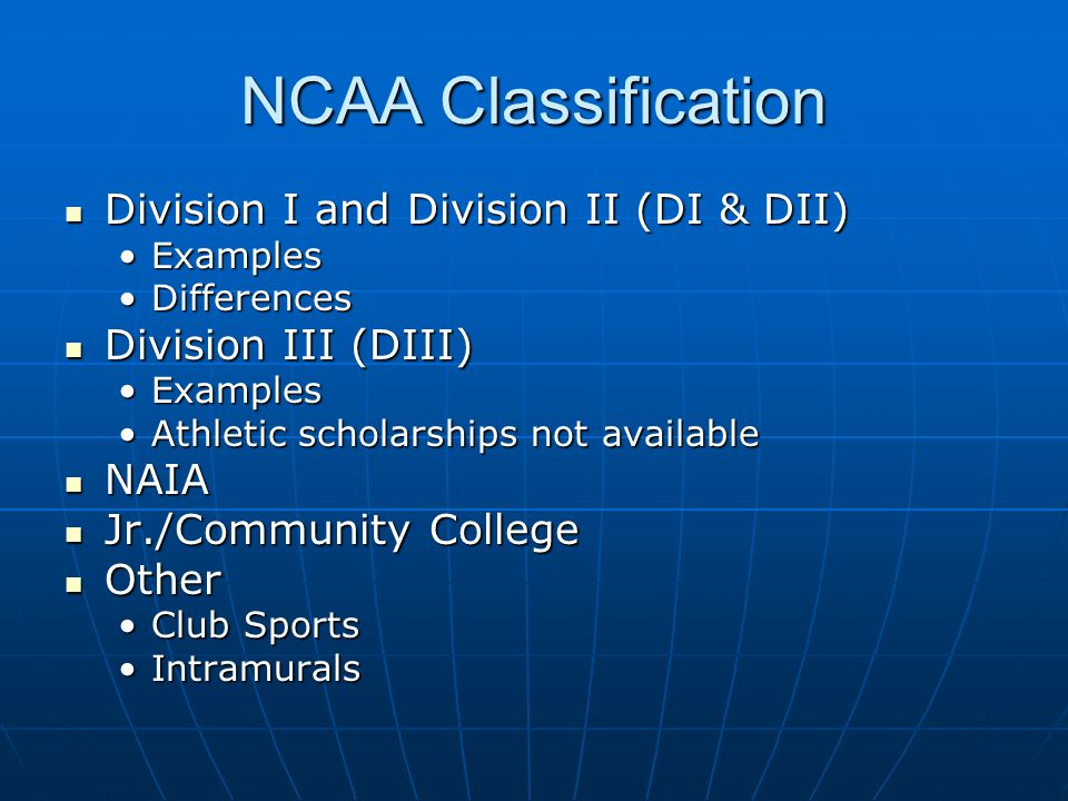 NCAA Classification Division I and Division II (DI & DII) Division I and Division II (DI & DII) ExamplesExamples DifferencesDifferences Division III (DIII) Division III (DIII) ExamplesExamples Athletic scholarships not availableAthletic scholarships not available NAIA NAIA Jr./Community College Jr./Community College Other Other Club SportsClub Sports IntramuralsIntramurals