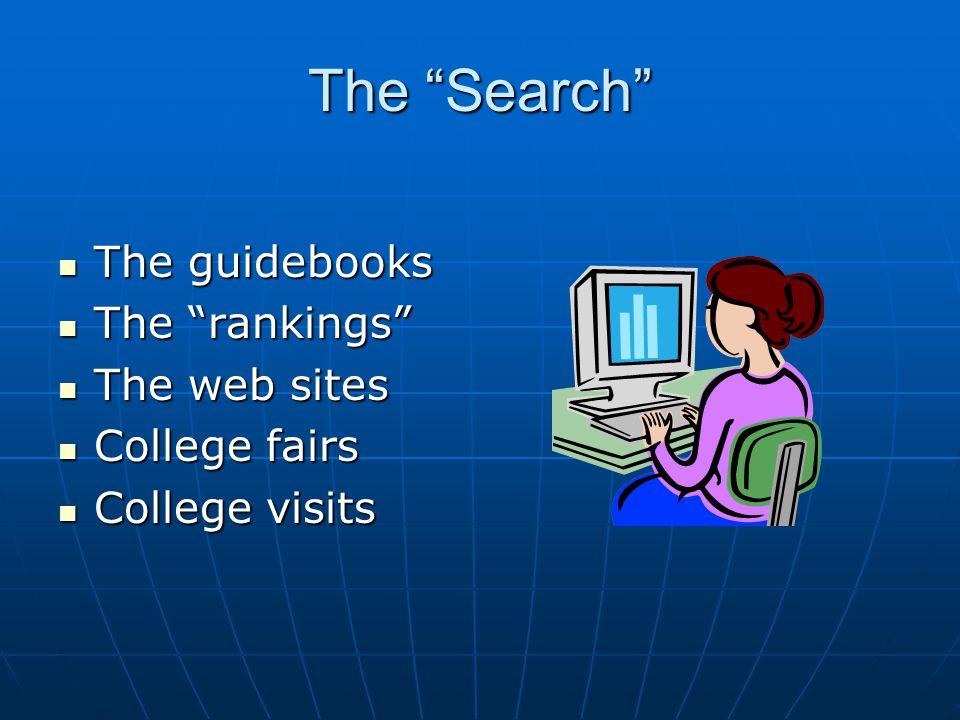 "The ""Search"" The guidebooks The guidebooks The ""rankings"" The ""rankings"" The web sites The web sites College fairs College fairs College visits Colleg"