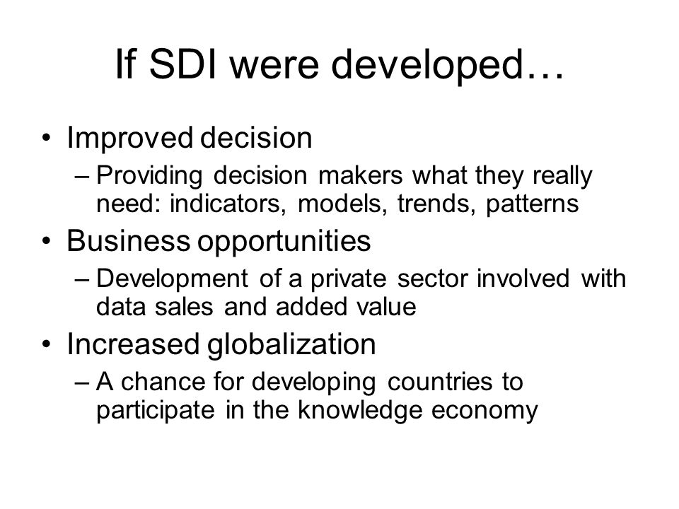 Here's one overview of the pieces of the SDI