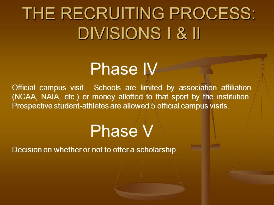 THE RECRUITING PROCESS: DIVISIONS I & II Phase IV Official campus visit. Schools are limited by association affiliation (NCAA, NAIA, etc.) or money al
