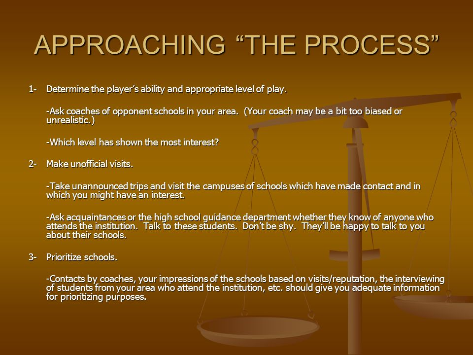 APPROACHING THE PROCESS 1-Determine the player's ability and appropriate level of play.