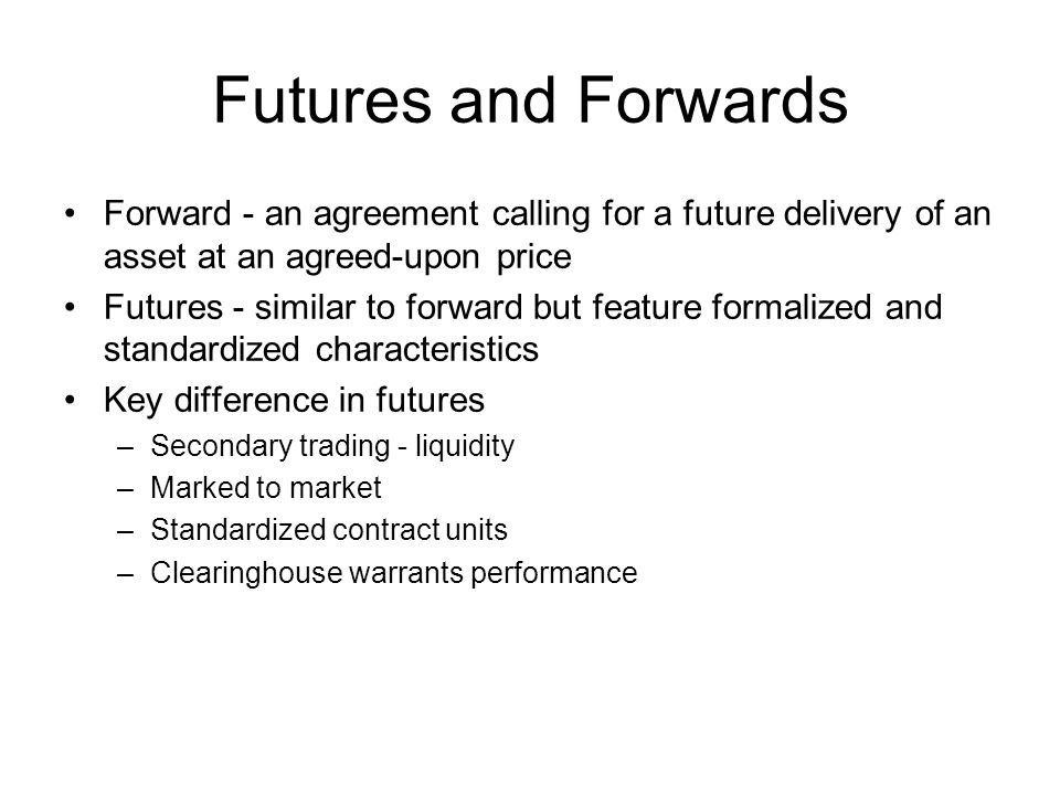 Spread Relation between future prices of contracts of different maturity days –Futures price is in part determined by time to maturity –If rf > d