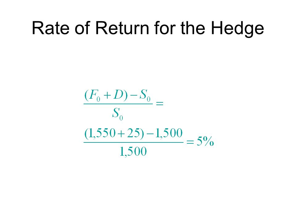 Rate of Return for the Hedge