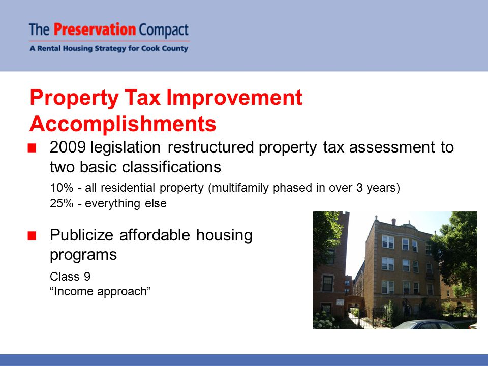 Property Tax Improvement Accomplishments 2009 legislation restructured property tax assessment to two basic classifications 10% - all residential property (multifamily phased in over 3 years) 25% - everything else Publicize affordable housing programs Class 9 Income approach