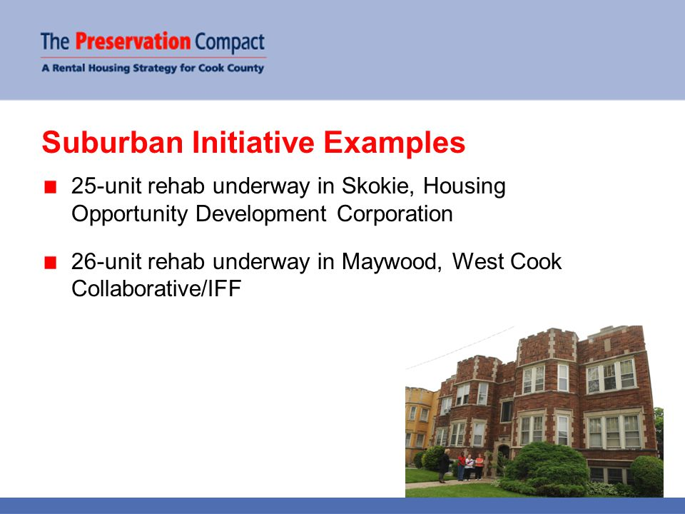 Suburban Initiative Examples 25-unit rehab underway in Skokie, Housing Opportunity Development Corporation 26-unit rehab underway in Maywood, West Cook Collaborative/IFF