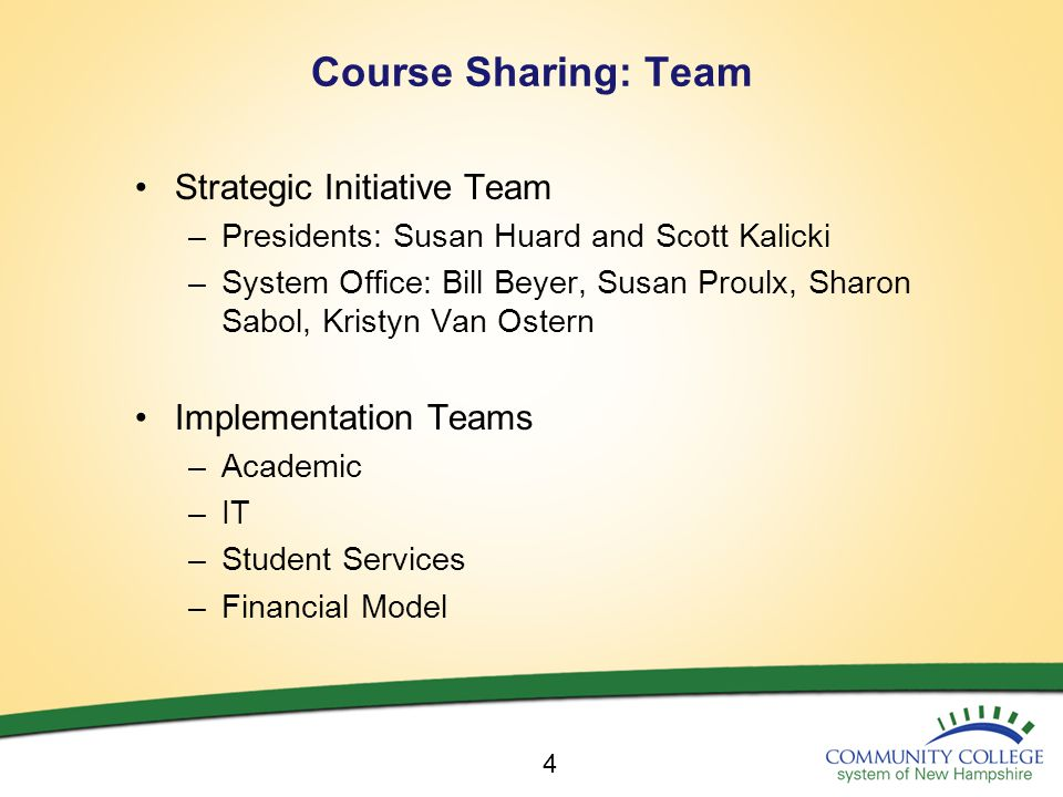 Course Sharing: Team Strategic Initiative Team –Presidents: Susan Huard and Scott Kalicki –System Office: Bill Beyer, Susan Proulx, Sharon Sabol, Kristyn Van Ostern Implementation Teams –Academic –IT –Student Services –Financial Model 4