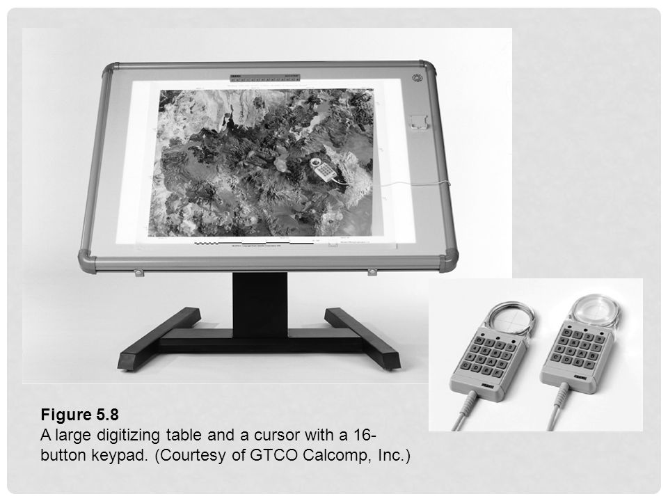 Figure 5.8 A large digitizing table and a cursor with a 16- button keypad. (Courtesy of GTCO Calcomp, Inc.)