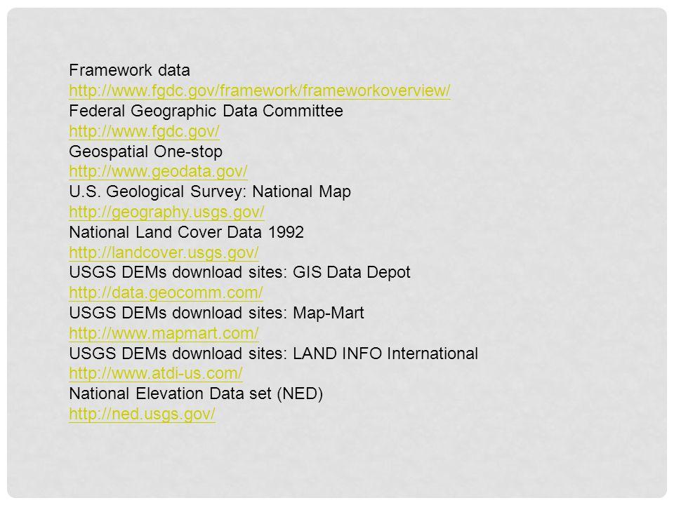 Framework data http://www.fgdc.gov/framework/frameworkoverview/ Federal Geographic Data Committee http://www.fgdc.gov/ Geospatial One-stop http://www.
