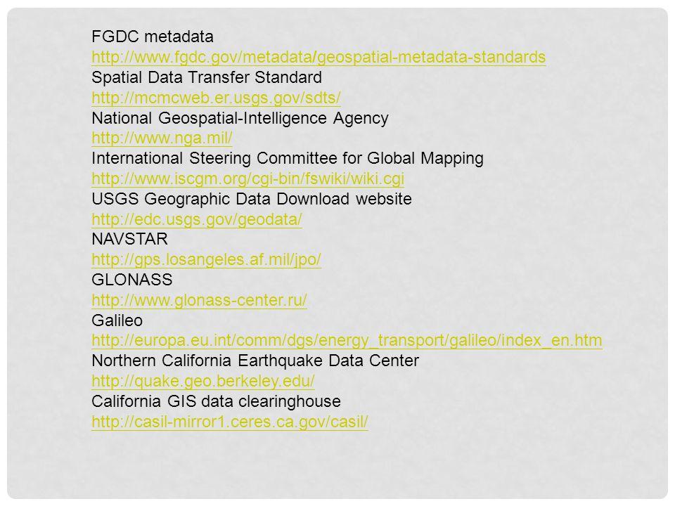FGDC metadata http://www.fgdc.gov/metadata/geospatial-metadata-standards Spatial Data Transfer Standard http://mcmcweb.er.usgs.gov/sdts/ National Geos