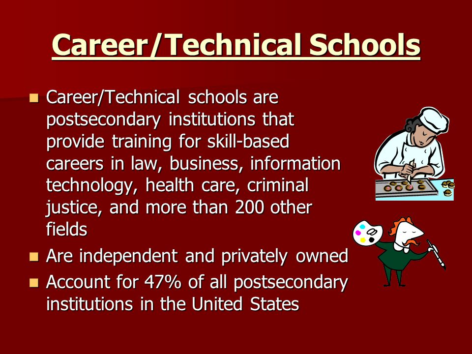 Career/Technical Schools Career/Technical schools are postsecondary institutions that provide training for skill-based careers in law, business, information technology, health care, criminal justice, and more than 200 other fields Career/Technical schools are postsecondary institutions that provide training for skill-based careers in law, business, information technology, health care, criminal justice, and more than 200 other fields Are independent and privately owned Are independent and privately owned Account for 47% of all postsecondary institutions in the United States Account for 47% of all postsecondary institutions in the United States
