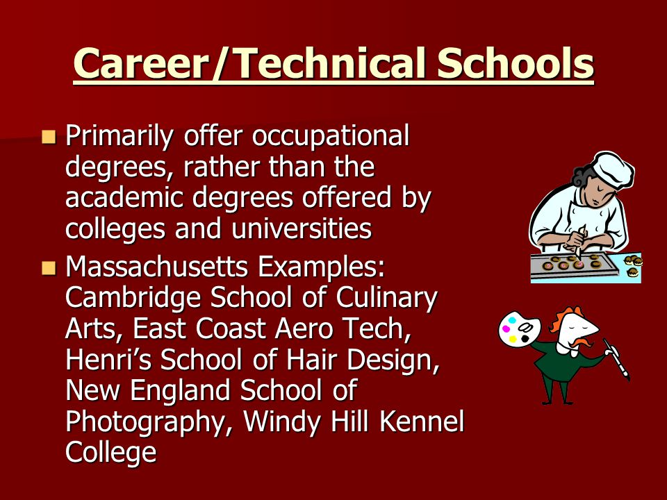 Career/Technical Schools Primarily offer occupational degrees, rather than the academic degrees offered by colleges and universities Primarily offer occupational degrees, rather than the academic degrees offered by colleges and universities Massachusetts Examples: Cambridge School of Culinary Arts, East Coast Aero Tech, Henri's School of Hair Design, New England School of Photography, Windy Hill Kennel College Massachusetts Examples: Cambridge School of Culinary Arts, East Coast Aero Tech, Henri's School of Hair Design, New England School of Photography, Windy Hill Kennel College