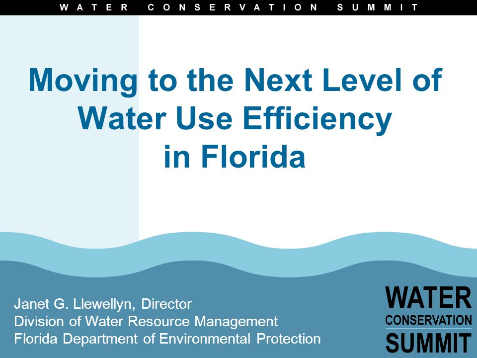 Moving to the Next Level of Water Use Efficiency in Florida Janet G.