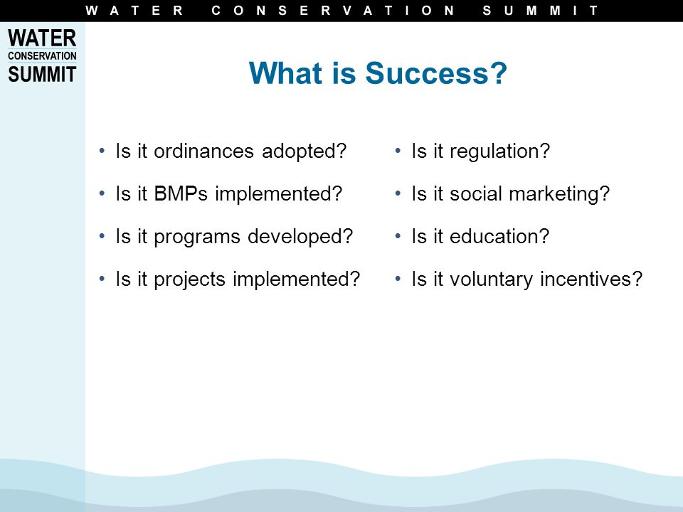 What is Success. Is it ordinances adopted. Is it BMPs implemented.