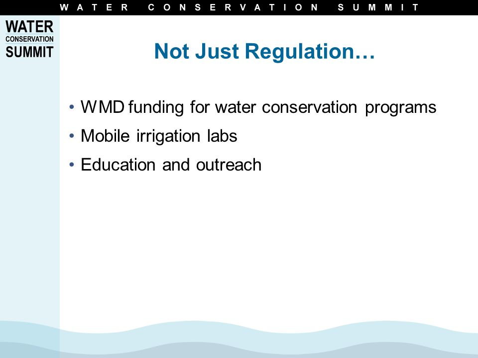 WCI Recommendations Agricultural Irrigation Water Pricing Reuse of Reclaimed Water Landscape Irrigation Indoor Water Use Industrial-Commercial- Institutional Use Research Education & Outreach