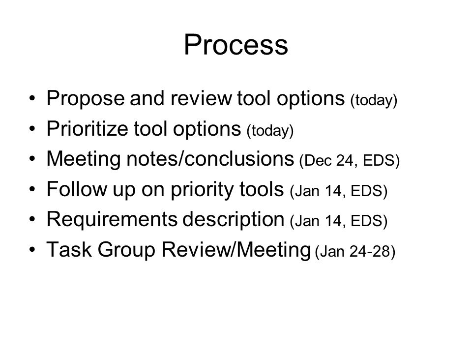 Process Propose and review tool options (today) Prioritize tool options (today) Meeting notes/conclusions (Dec 24, EDS) Follow up on priority tools (Jan 14, EDS) Requirements description (Jan 14, EDS) Task Group Review/Meeting (Jan 24-28)