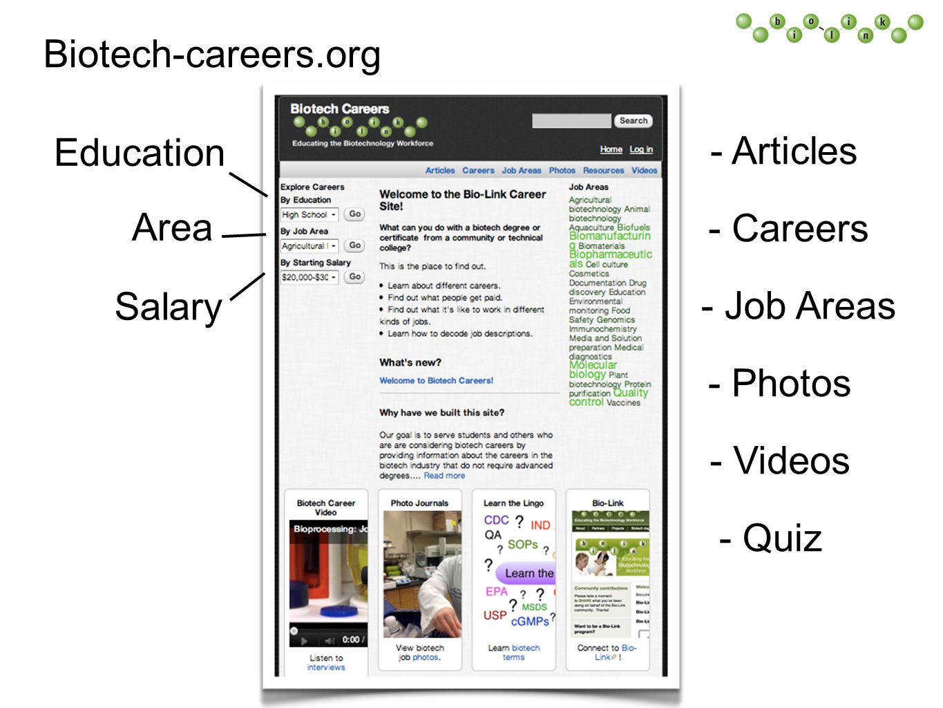 Biotech-careers.org Area Education Salary - Articles - Careers - Job Areas - Photos - Videos - Quiz
